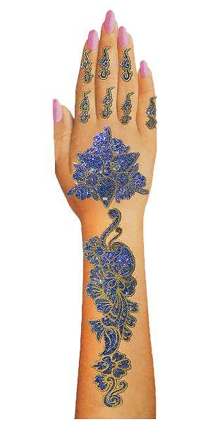 Blue Glitter Sticker Mehendi for Single Hand