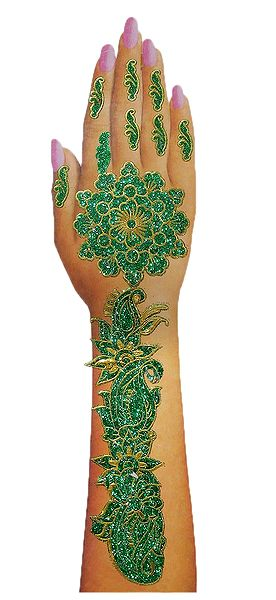 1 Piece Green Glitter Hand Mehendi