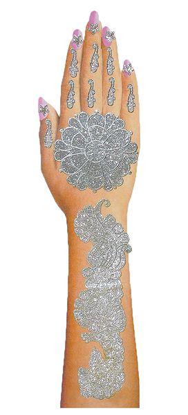 Silver Glitter Sticker Mehendi for Single Hand