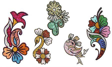 Set of 5 Multicolor Glitter Tattoos