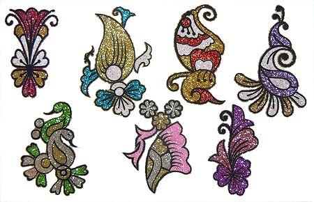 Set of7 Multicolor Glitter Tattoos