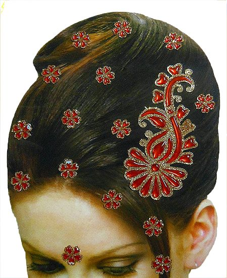 Stone Studded Stick-on for Hair, Forehead and Ear