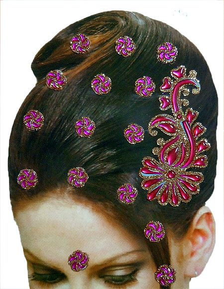 Stone Studded Stick-on Hair, Forhead and Ear Decoration