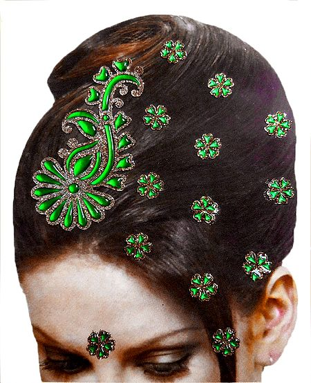 Stone Studded Stick-on Hair, Forehead and Ear Decoration