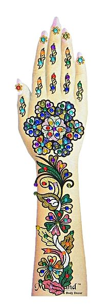One Piece Multicolor Stone Studded Hand Mehendi