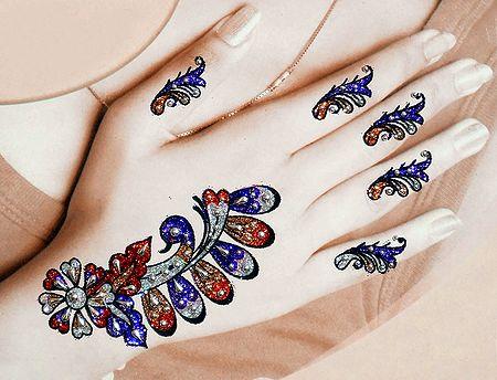 Multicolor Glitter with Bead Sticker Mehendi for Single Hand