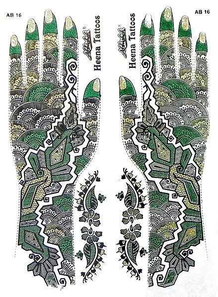 Set of Green,Black with Golden Glitter Sticker Mehendi for Hand Decor