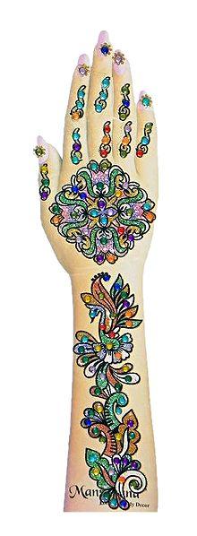 One Piece Multicolor Stone Studded Hand Mehendi