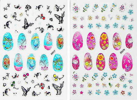 Set of 2 Printed Sheets of Flower Sticker for Nails