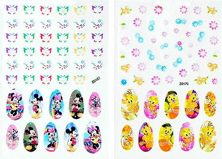 Set of 2 Printed Cartoon Sticker for Nails