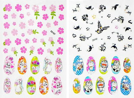 Set of 2 Printed Sheets of Cartoon Sticker for Nails