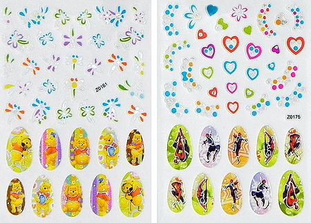 Set of 2 Printed Sheets of Teddy Bear and Superman Sticker for Nails