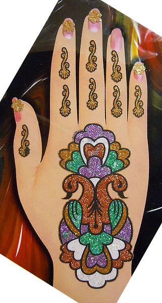 Multicolor Glitter Mehendi for Single Hand