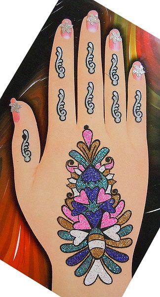 One Piece Multicolor Glitter Flower Bouque Hand Mehendi