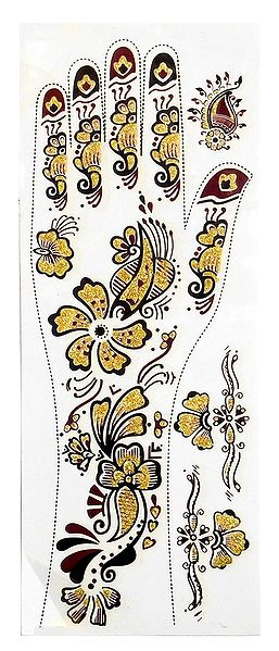 Maroon, Black with Golden Glitter Sticker Mehendi for Single Hand