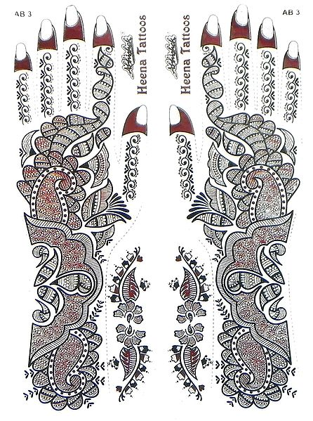 Set of Silver Glitter Sticker Mehendi for Hand and Body Decor