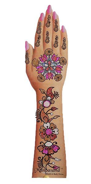 Multicolor Glitter Stick-on Mehendi for Single Hand