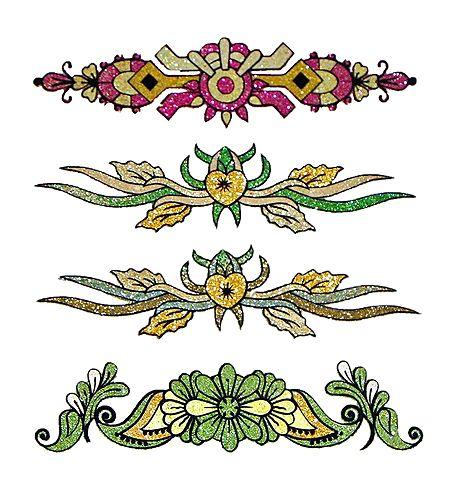 Set of 4 Golden Glitter Tattoos