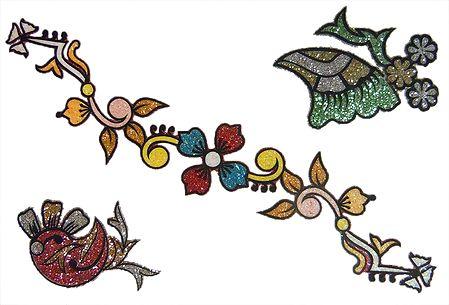 Set of 3 Multicolor Glitter Sticker Tattoos