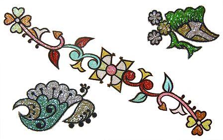 Set of 3 Multicolor Glitter Tattoos