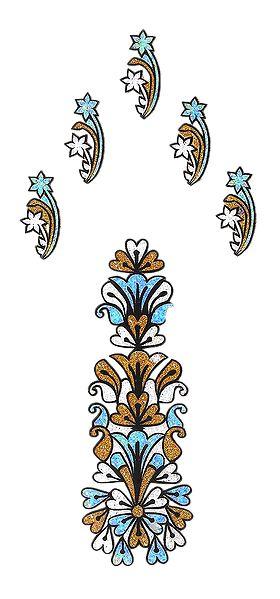 Cyan Blue with Golden Glitter Hand Tattoo