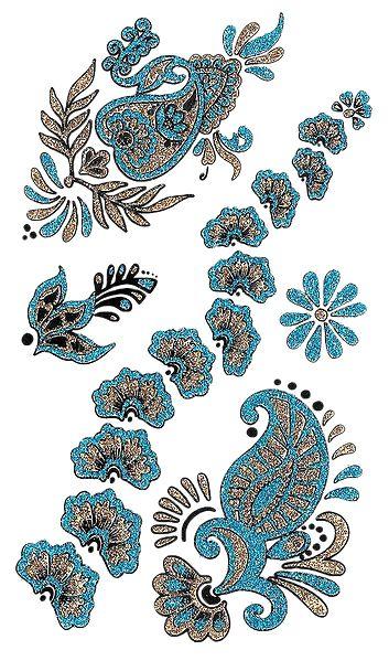Cyan Blue with Golden Glitter Sticker Tattoos