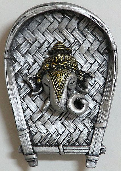 Ganesha Face on a Silver Color Winnow - Wall Hanging