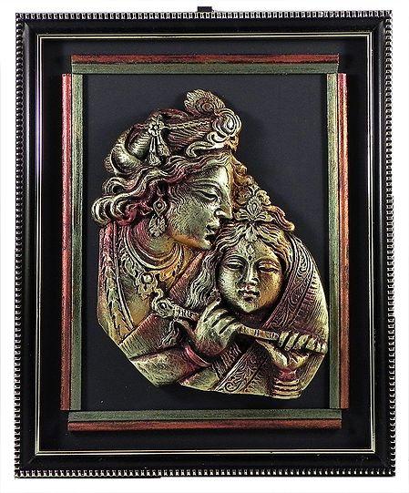 Radha Krishna - Terracotta Statue on Wall Hanging