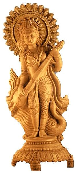 Saraswati - Hindu Goddess of Knowledge : Terracotta Statue