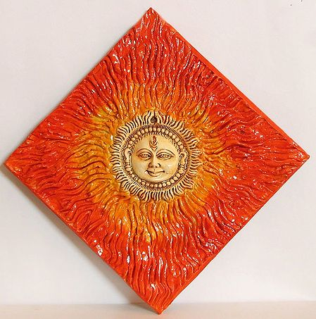 Hand Painted Sun God on Ceramic Painted Tile - Wall Hanging