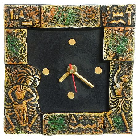 Battery Operated Square Table Clock in a Terracotta Plate with Tribal Dancers