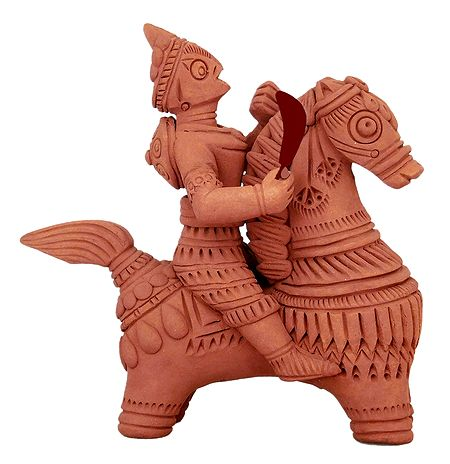 Soldier on Horse - Terracotta Statue