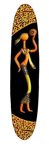 Woman Playing Dafli - Terracotta Wall Hanging