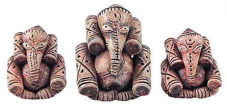 Set of 3 Ganesha in Tribal Style