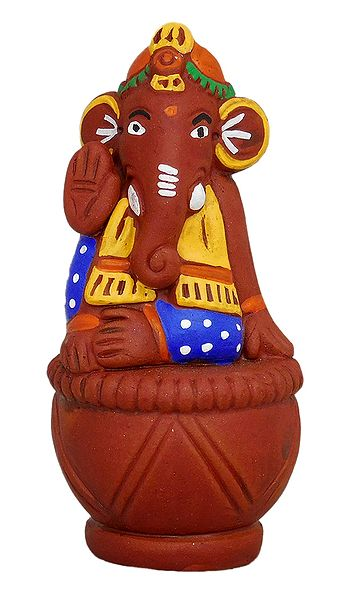 Ganesha Sitting on Tabla - Terracotta Statue