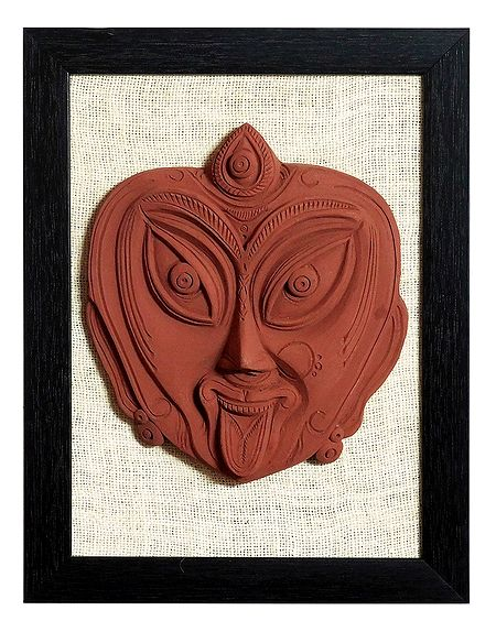 Face of Goddess Kali - Terracotta Wall Hanging