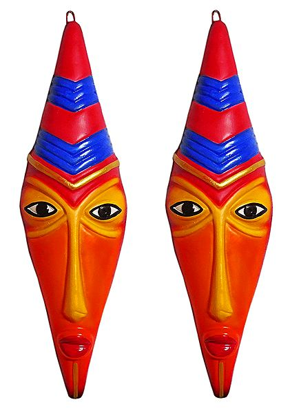 Pair of Terracotta Tribal Masks for Wall Decoration