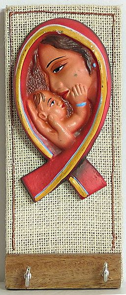 Terracotta Mother and Child on Wood with Two Key Rack Hooks