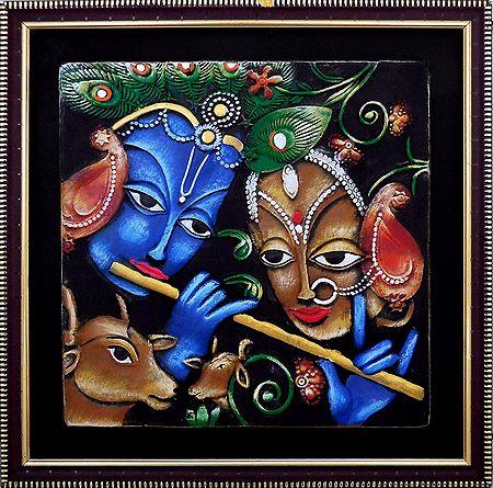 Radha Krishna - Terracotta Wall Hanging