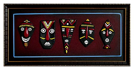 Multicolor Decorative Black Faces on a Wooden Panel - Terracotta Wall Hanging