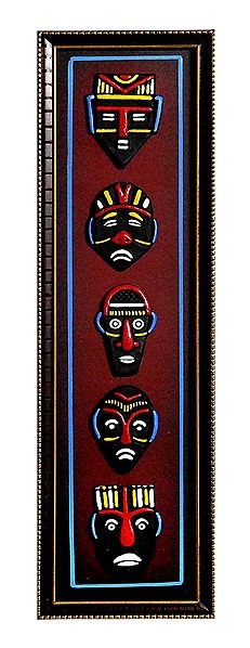 Multicolor Faces on a Wooden Panel - Terracotta Wall Hanging