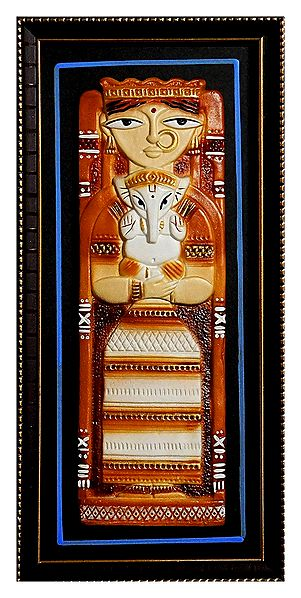 Goddess Durga with Ganesha - Terracotta Sculpture