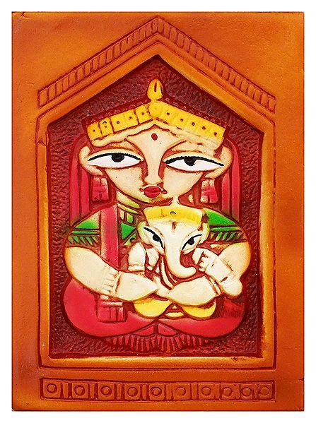 Goddess Durga with Ganesha - Terracotta Wall Hanging