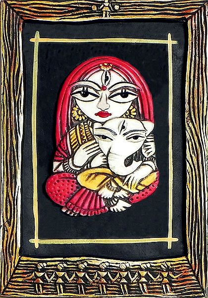 Ganesha Sitting in the Lap of Mother Parvati - Wall Hanging