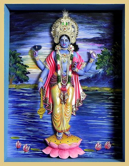 Vishnu Statue in a Glass Case with Hand Painted Background - Wall Hanging