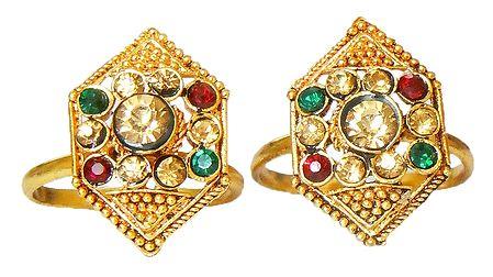 Pair of Stone Studded Hexagonal Toe Ring