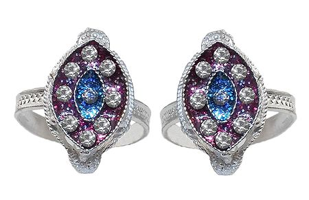 White Stone Studded on Blue and Maroon Laquered Diamond Shaped Adjustable Metal Toe Ring