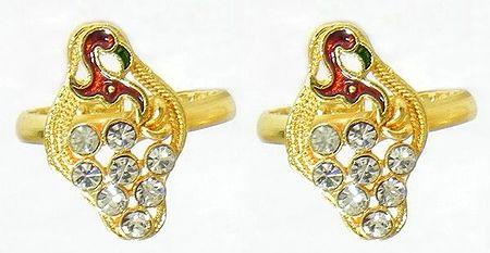 White Stone Studded Peacock Design Toe Ring