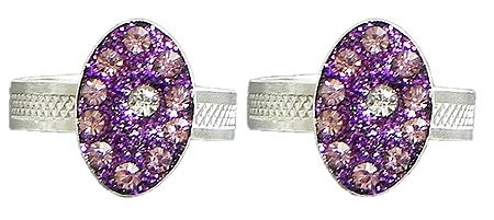 Purple Stone Studded Oval Toe Ring