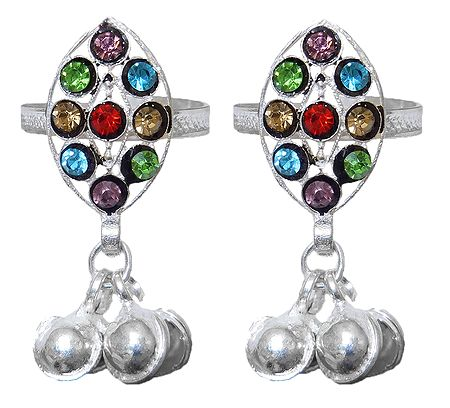 Pair of Multicolor Stone Studded Toe Ring